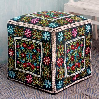 Handmade Cotton Rayon 'Bollywood Blooms' Ottoman Pouf Cover (India)
