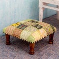 Rajasthan Wishes Sheesham Wood with Multicolor Patchwork in Shades of Green Square Foot Stool Upholstered Ottoman (India)