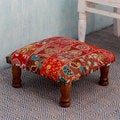 Rajasthan Illusions Sheesham Wood with Multicolor Patchwork in Shades of Red Square Foot Stool Upholstered Ottoman (India)