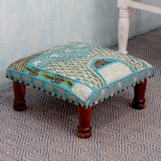Rajasthan Dreams Sheesham Wood with Multicolor Patchwork in Shades of Blue Square Foot Stool Upholstered Ottoman (India)