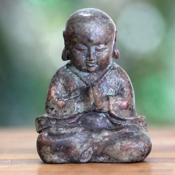 Handcrafted Bronze 'Praying Baby Buddha' Statuette (Indonesia)