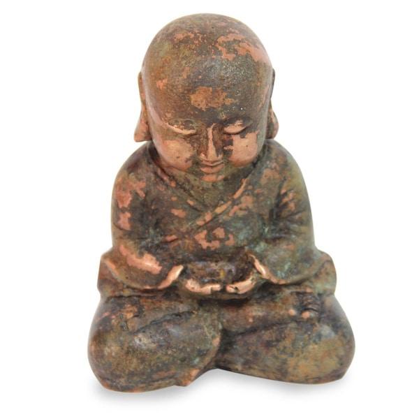 Handmade Bronze 'Baby Buddha Meditating' Statuette (Indonesia)