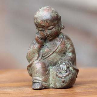 Handcrafted Bronze 'Sleepy Baby Buddha' Statuette (Indonesia)
