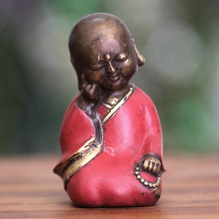 Handcrafted Bronze 'Sleepy Little Buddha' Statuette, Handmade in Indonesia