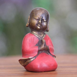 Handcrafted Bronze 'Praying Little Buddha' Statuette (Indonesia)