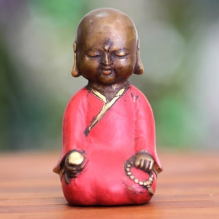 Handcrafted Bronze 'Meditating Little Buddha' Statuette (Indonesia)