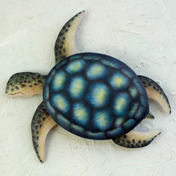 Sea Turtle Indoor Outdoor Patio Garden Green Yellow Turquoise Rustic Handmade Animal Decor Accent (Mexico)