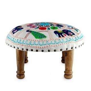Handmade Floral Fauna Embroidery Ottoman (India)