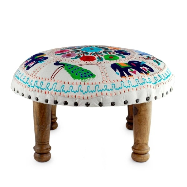 Shop Handmade Floral Fauna Embroidery Ottoman India On