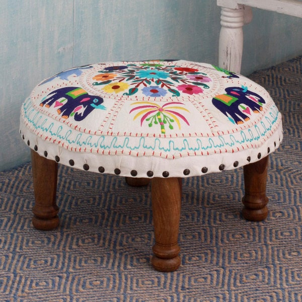 Floral Fauna Sheesham Wood with Multicolor Embroidery on Ivory Cream Off White Round Foot Stool Upholstered Ottoman (India)