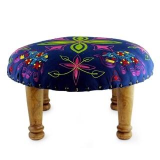Handmade Seesham Wood Cotton Rayon 'Elephant Blooms' Foot Stool Ottoman (India)