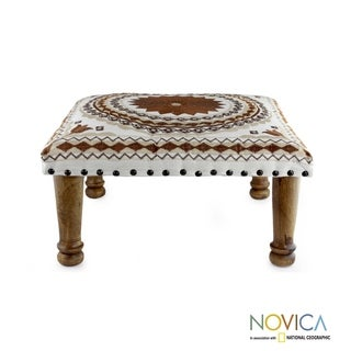 Brown Mandala Sheesham Wood with Multicolor Embroidery in Shades of Brown and Ivory Square Upholstered Footstool Ottoman (India)