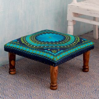 Turquoise Mandala Sheesham Wood with Multicolor Embroidery in Shades of Blue Green Square Foot Stool Upholstered Ottoman (India)