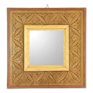 Handmade Cempaka Wood 'Matahari Mosaic' Relief Panel and Mirror (Indonesia)
