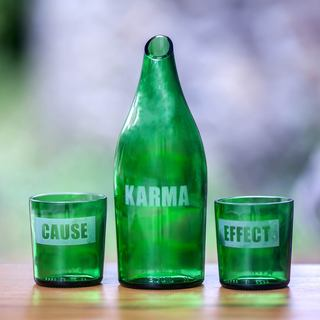 Set for 2 Recycled Glass 'Karma Effect' Carafe and Glasses (Indonesia)