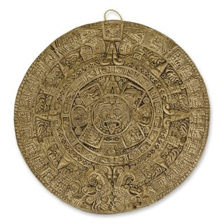Handmade Ceramic 'Aztec Calendar in Brown' Wall Plaque (Small) (Mexico)