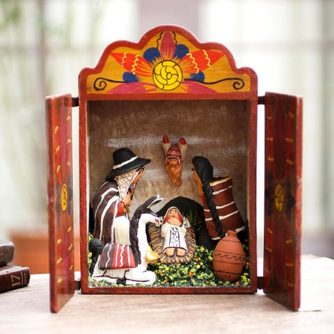 Handmade Wood and Ceramic 'Jesus in the Andes' Nativity Scene (Peru)