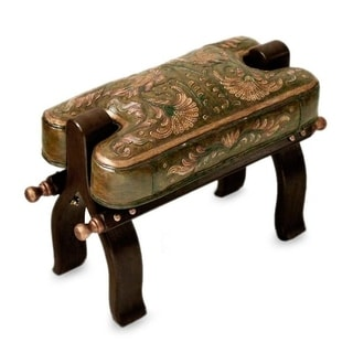 Handcrafted Mohena Wood Leather 'Bird of Paradise' Stool (Peru)