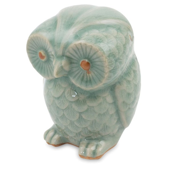 Handcrafted Celadon Ceramic 'Little Blue Owl' Figurine , Handmade in Thailand