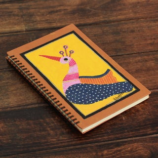 Handcrafted Paper 'Yellow Gond Peacock' Journal (India)