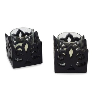 Set of 2 Rain Tree Wood 'Thai Fleur De Lis' Candleholder (Thailand)