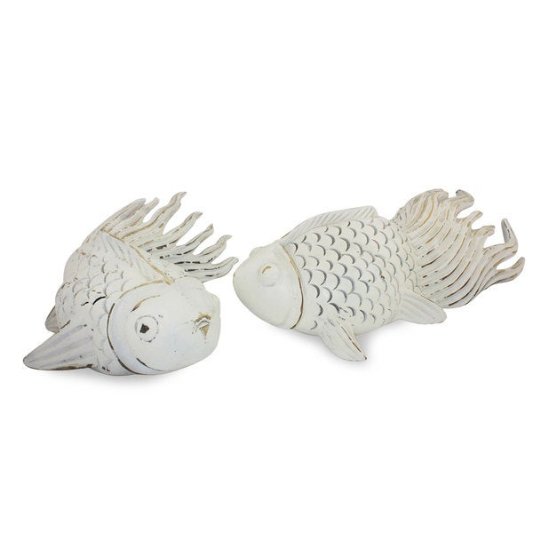Handmade Set of 2 Rain Tree Wood 'Cheerful Goldfish' Sculptures (Thailand)