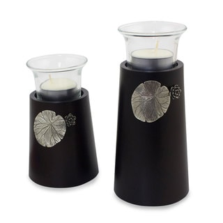 Set of 2 Rain Tree Wood Pewter 'Lotus Light' Candleholders (Thailand)