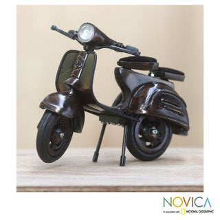 Handcrafted Brass 'Grandpa's Scooter' Statuette (Indonesia)