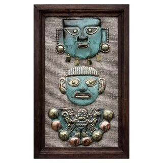 Handcrafted Copper Bronze 'Moche Masks' Wall Art , Handmade in Peru