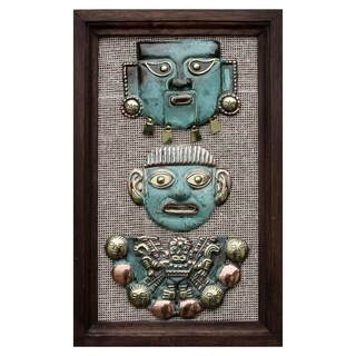 Handmade Copper Bronze 'Moche Masks' Wall Art (Peru)