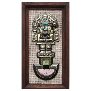 Handmade Gemstone Inlay Bronze 'Tumi Deity' Wall Art (Peru)