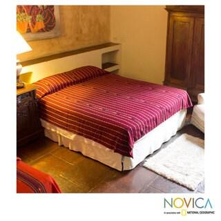 Handmade Cotton 'Maya Burgundy' Bedspread Twin (Guatemala)