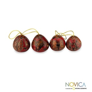 Set of 4 Handmade Mate Gourd 'Butterflies' Ornaments (Peru)