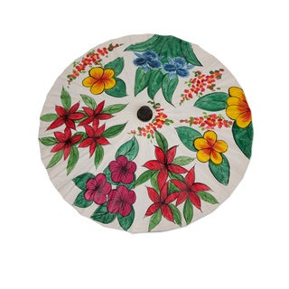 Handcrafted Saa Paper Bamboo 'Flora of Thailand' Parasol (Thailand)