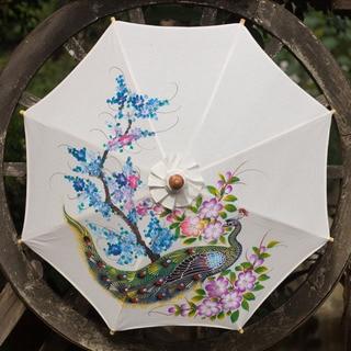Handmade Cotton Bamboo 'Thai Peacock Garden' Parasol (Thailand)
