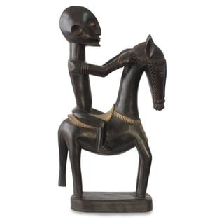 Handcrafted Sese Wood 'Dogon Man on Horseback' Figurine (Ghana)