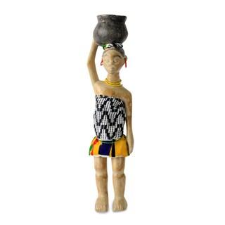 Handmade Sese Wood 'Homowo Festival' Wood Carving Sculpture (Ghana)