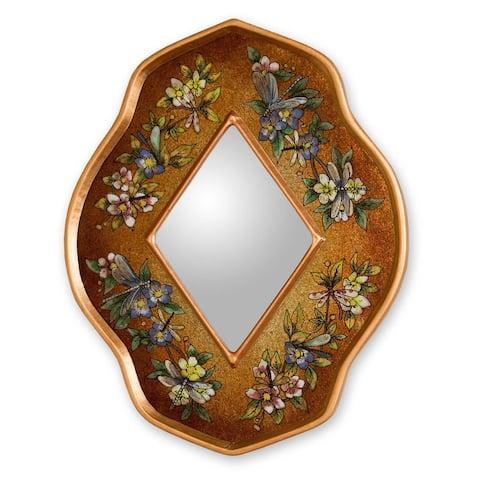 """Handmade Reverse Painted Glass Golden Summer Garden Mirror (Peru) - Multi - 8""""x10"""""""