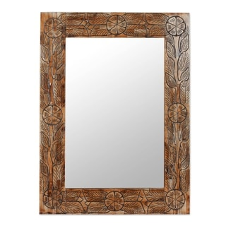 Handcrafted Bone ', Handmade in Indian Wildflowers' Wall Mirror  , Handmade in India