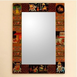Handcrafted Decoupage 'Mughal Hunting Expedition' Mirror , Handmade in India