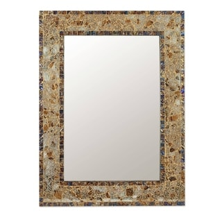 Irridescent Blue and Gold Glass Mosaic Modern Horizontal or Vertical Decorator Accent Rectangular Wall Mirror (India)