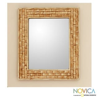 Handcrafted Bone 'Whispering Bamboo' Wall Mirror (India)