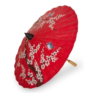 Handcrafted Saa Paper Bamboo 'Cherry Blossoms' Parasol (Thailand)