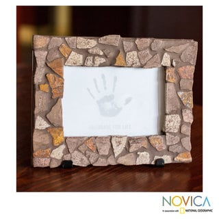 Handcrafted Marble Mosaic 'Mountain Trail' Photo Frame (4x6) (Mexico)