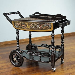 Traditonal Tooled Leather Mohena Wood Drop Leaf One Drawer Removable Tray Multicolor Decorator Accent Rolling Bar Cart (Peru)
