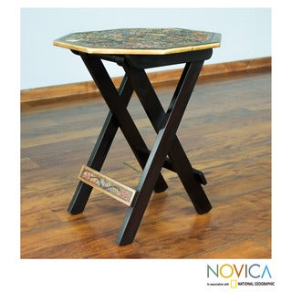 Handmade Mohena Wood Leather 'Octagonal Birds of Paradise' Folding Table (Peru)