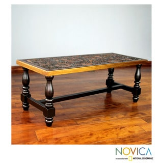 Andean Birds Handmade Hand Tooled Leather Brown Mohena Wood Coffee Table  (Peru)