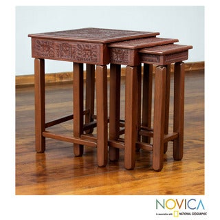 Set of 3 Mohena Wood Leather 'Inca Light' Accent Tables (Peru)