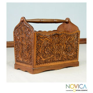 Mohena Wood and Leather 'Colonial Iquilla Flower' Magazine Rack (Peru)