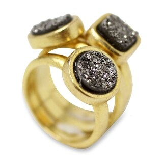 Set of 3 Gold Overlay 'Samba Dazzle' Drusy Agate Rings (Brazil)
